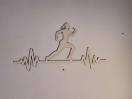 Houten wanddecoratie hardlopen vrouw