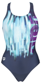 Arena W Drawing Swim Pro Back Badpak Navy-tuquoise