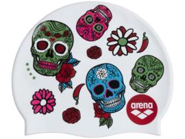 Arena Print 2 Silicone Badmuts - Crazy Skull Carnival White