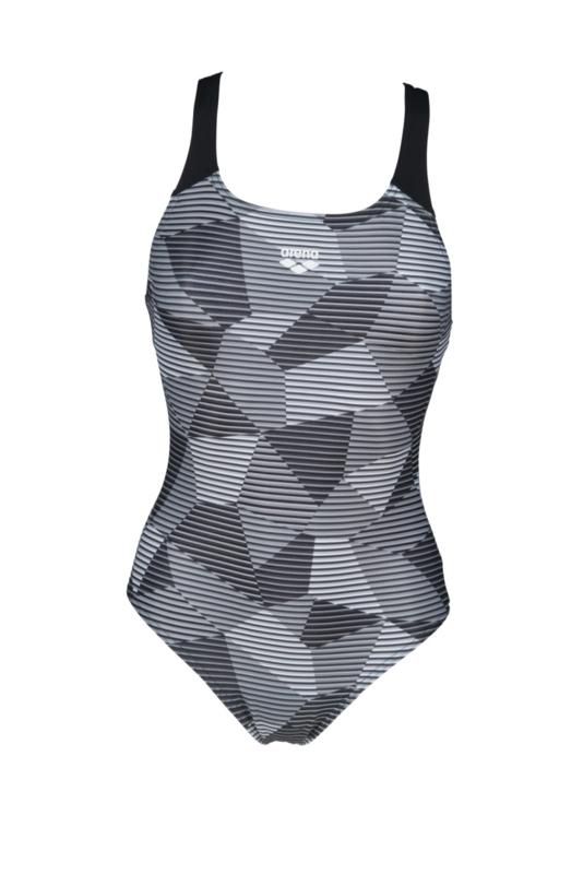 Arena W Striped Geo Swim Pro Back Badpak Black-multi