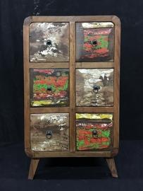 Teak kast recylce wood retro , lengte50cm , diep 40cm , hoog 84cm