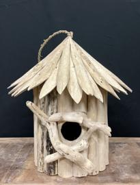 Vogelhuisje (1 hole) gemaakt van drijfhout, hoogte