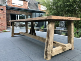 Klooster tafel oud teakhout 3.00 meter bij 1.00 meter, 5 cm dik teakblad !!