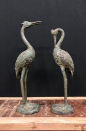Kraanvogel kijk omlaag Large model  brons legering 57 cm lang