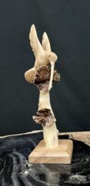 Kolibri parasiet hout op statief, 20cm