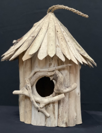 Drijfhout vogelhuis rond model, 40cm