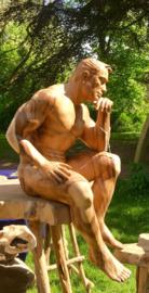 De denker van Rodin als hout sculptuur , handgemaakt.