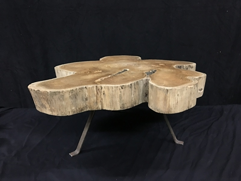 Teak blad tafel , polish , diameter 82cm , blad 9cm