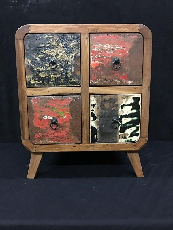 Teak kast recycle wood 4 laadjes , lengte 50cm , diep 45cm , hoog 60cm