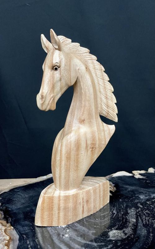 Paardenhoofd van hout, hoogte 31 cm