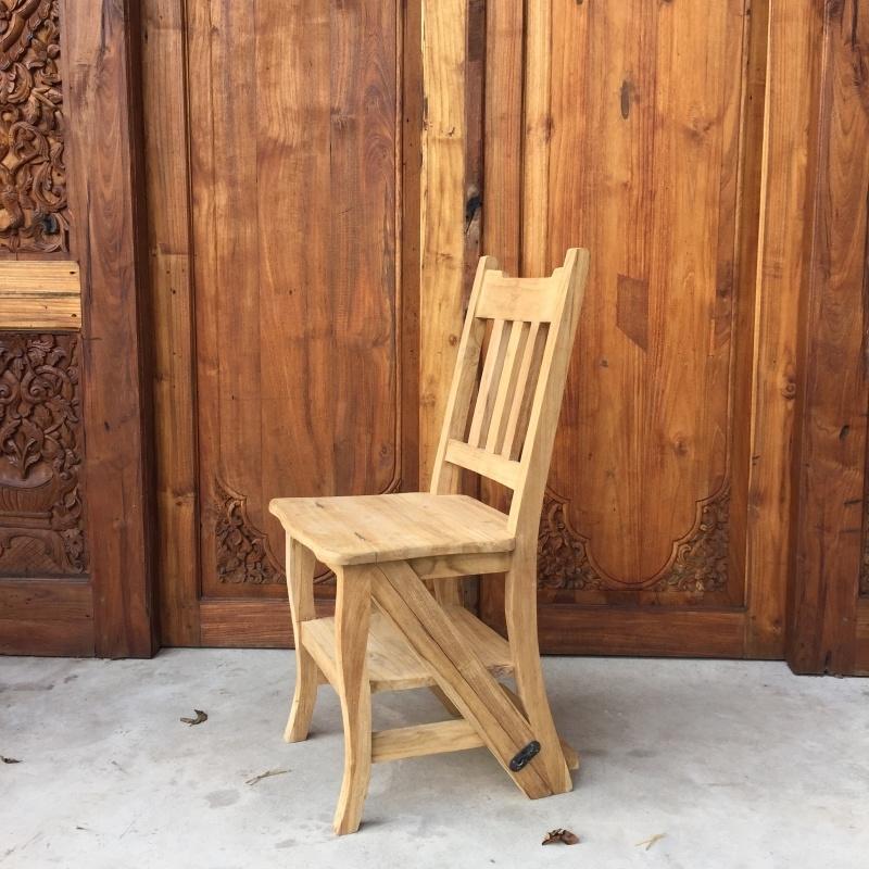 Teak stoel/trap combinatie 90 cm / 43 cm