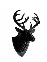 3D Hertenkop Black