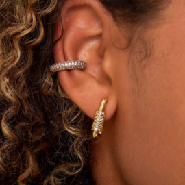 vergulde oorbellen met zirkonia steentjes