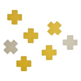 Muurstickers Cross Yellow