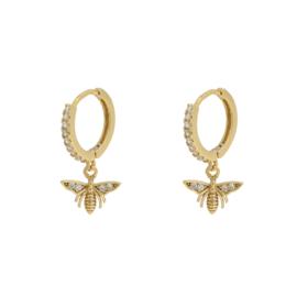 Earrings zirkonia bee