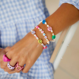 armband smiley face & pearls