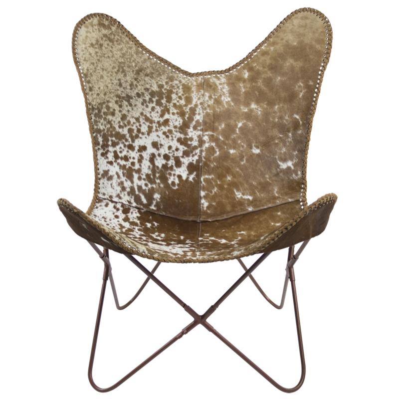 Butterfly chair cowskin