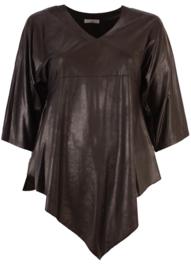 Leather Look Shirt met punt voor (B-119-LL) 001-Zwart