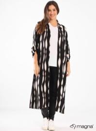 Maxi Buttoned Dress side split (C2010-print) A41001-BW krinkle stripe