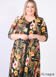 A-Line Printed Dress Button Leather Detail (C-2105-PR) Z86031-Jungle Print