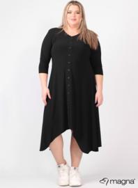 A-lijn jurk met knopen (C-2102) 001-Zwart