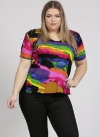 Shirt korte mouw (B-04-VISprint) A59006-Rainbow