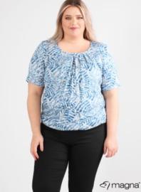 Short Sleeve Puffy Shirt (B-8018-VISprint) Z73004-Soft Leaves Blue