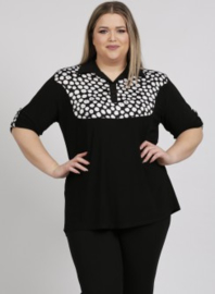 (B-2003) 2tone blouse