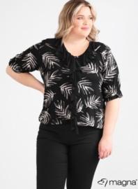 Shirt met rouche (B-2102-print) Z60001-Black-White Palm
