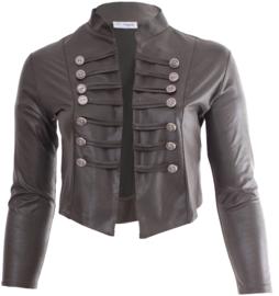 Kort Leather Look Jasje met 2 rijen knopen (K-5002-LL) 031-Dr.Groen