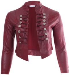 Kort Leather Look Jasje met 2 rijen knopen (K-5002-LL) 032-Bordeaux