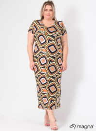 Long Short Sleeve Dress (C-9024-MB-VIS print) 00002A-Khaki Color Squares