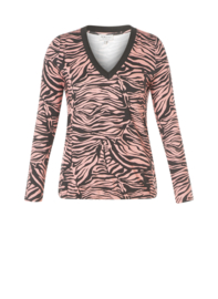 "(40348P) ""Pimme""  Zwart-RozeZwa zebra print shirt met lange mouw"