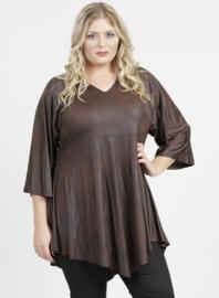 Leather Look Shirt met punt voor (B-119-LL) 064-Bruin