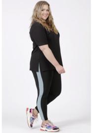 Legging Streep (F-9002) 001-zwart/077-L.Petrol