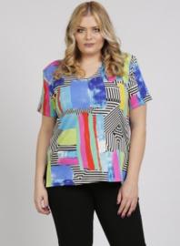 Shirt korte mouw (B-04-VISprint) A61011-Pastel Stripes
