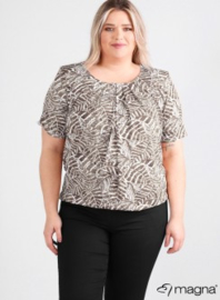 Short Sleeve Puffy Shirt (B-8018-VISprint) Z73061-Soft Leaves Taupe