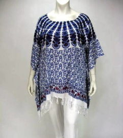 Saron Blouse (07-3251-peacock whiteblue)