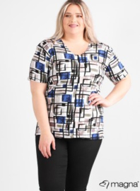 Shirt korte mouw (B-04-VISprint) 388060-Blue-White Squares