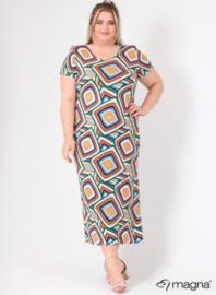 Long Short Sleeve Dress (C-9024-MB-VIS print) 00001A-Multi Color Squares