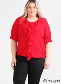Shirt met rouche (B-2102) 015-Rood