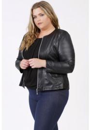 Kort Leather Look jasje (K-31-LL) 001-Zwart