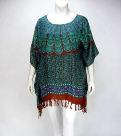 Saron Blouse (11-3255-peacockgreenred)