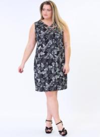Crossed Detail Dress (C-9030-print) A90001-BW Leaves