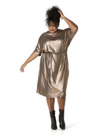 "(40268P) ""Noralyn"" Brons kleurige jurk korte mouw"