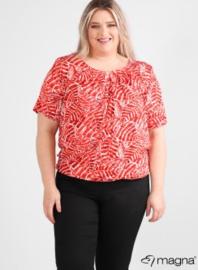 Short Sleeve Puffy Shirt (B-8018-VISprint) Z73015-Soft Leaves Red