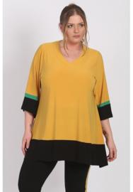 Tuniek A-lijn met contrast band (C-9002) 076-Mellow Yellow