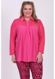 Shirt A-Lijn met Chiffon (B-8026-CHS) 006-L.Fuchsia