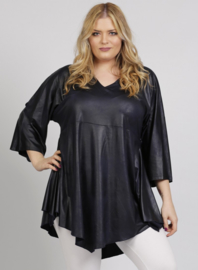 Leather Look Shirt met punt voor (B-119-LL) 017-Marine