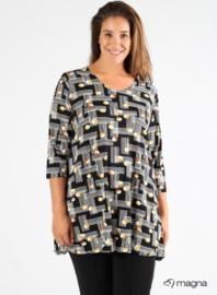 Lange basic shirt (B-6004-BVISPR) 019701-Circle Lines Black-yellow